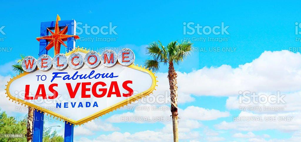 Welcome to Fabulous Las Vegas Sign Panoramic stock photo