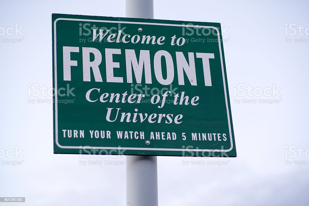 Welcome to Fremont - Center of the Universe - Seattle stock photo