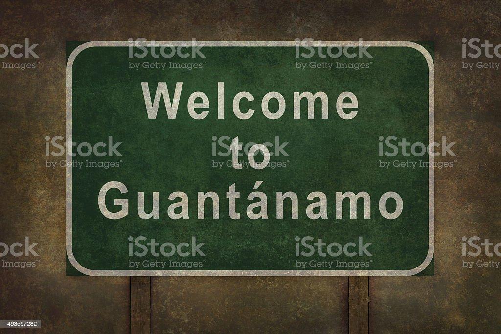 Welcome to Guantanamo roadside sign illustration. stock photo
