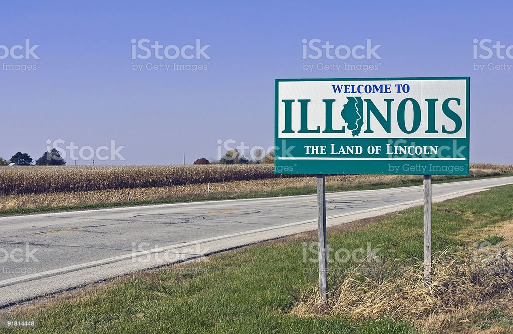 Welcome to Illinois sign on the side of a road stock photo