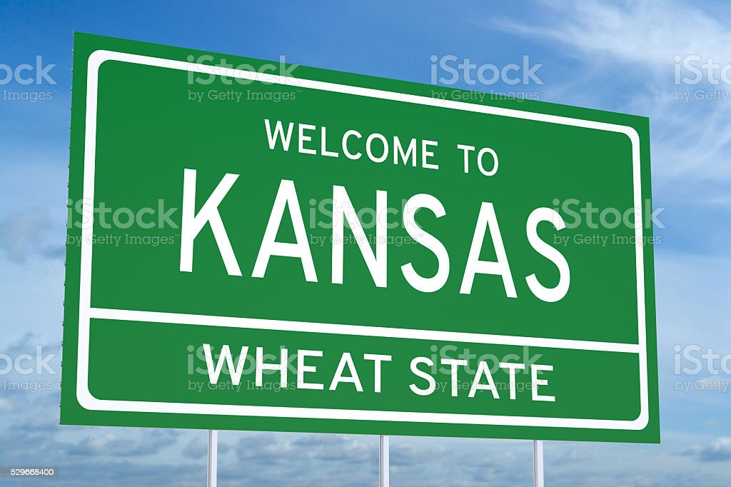 Welcome to Kansas state road sign stock photo