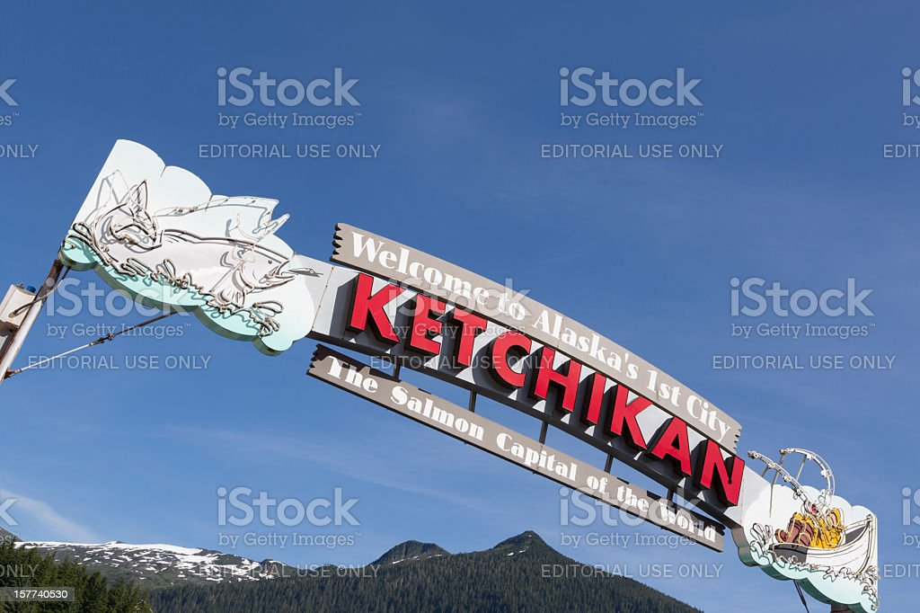 Welcome to Ketchikan Sign, Alaska royalty-free stock photo
