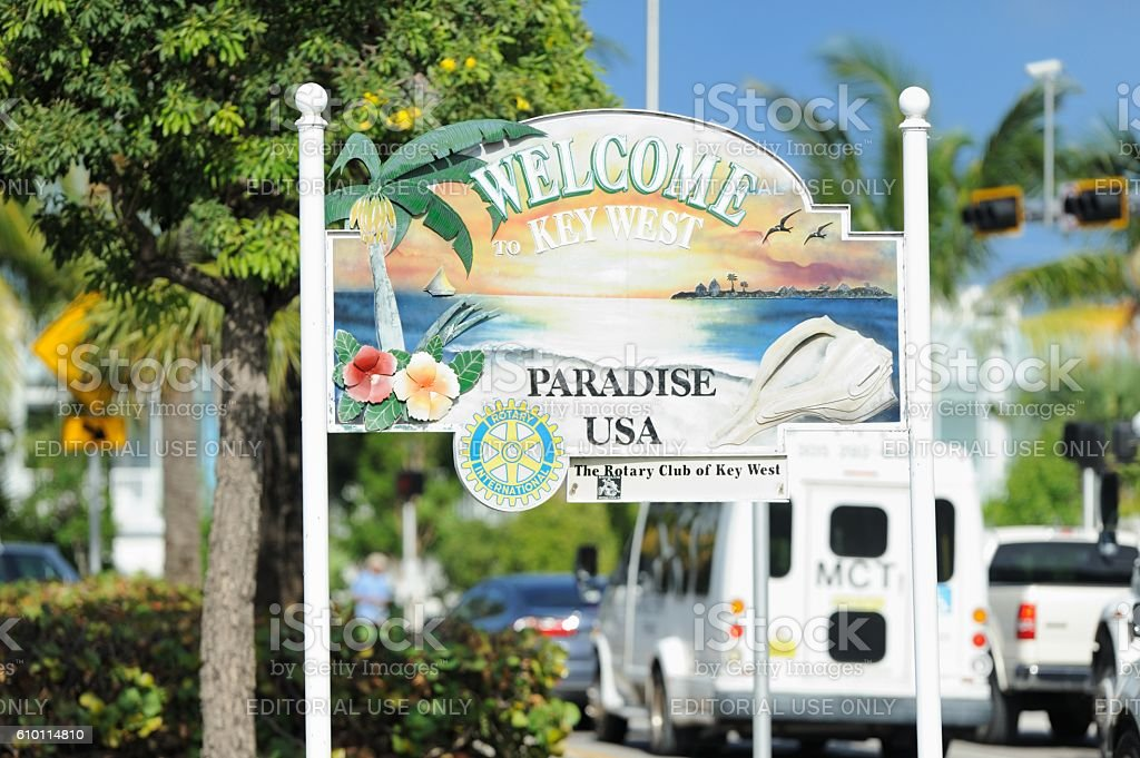 Welcome to Key West Paradise USA sign stock photo