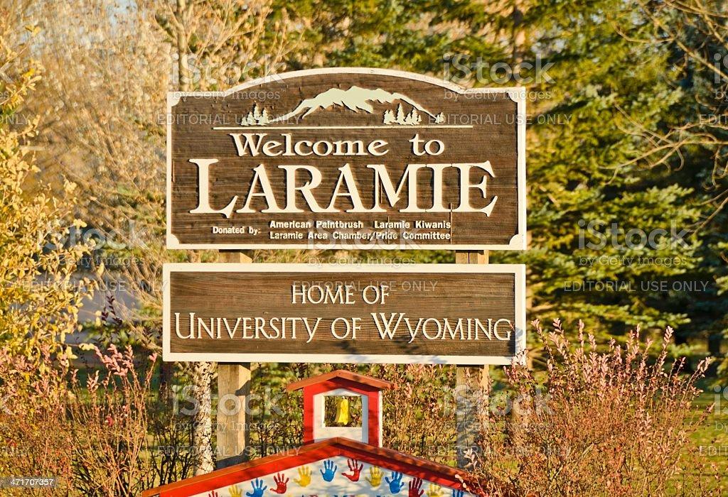 Welcome to Laramie, Wyoming stock photo