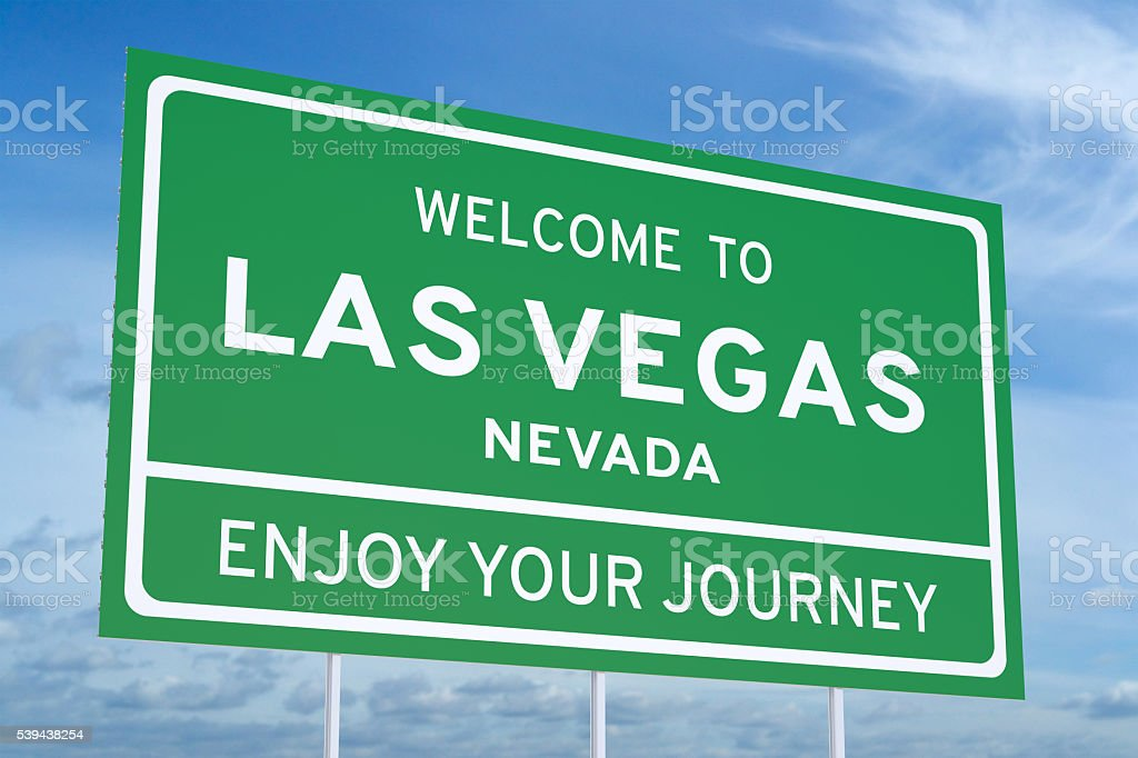 Welcome to Las Vegas road sign, 3D rendering stock photo