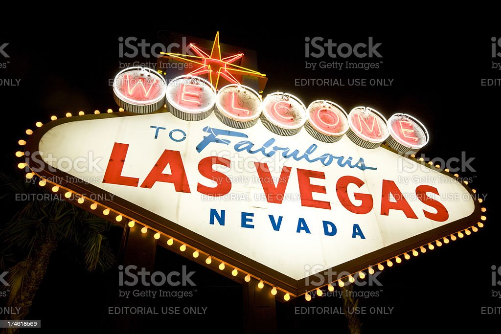 Welcome to Las Vegas Sign at Night royalty-free stock photo