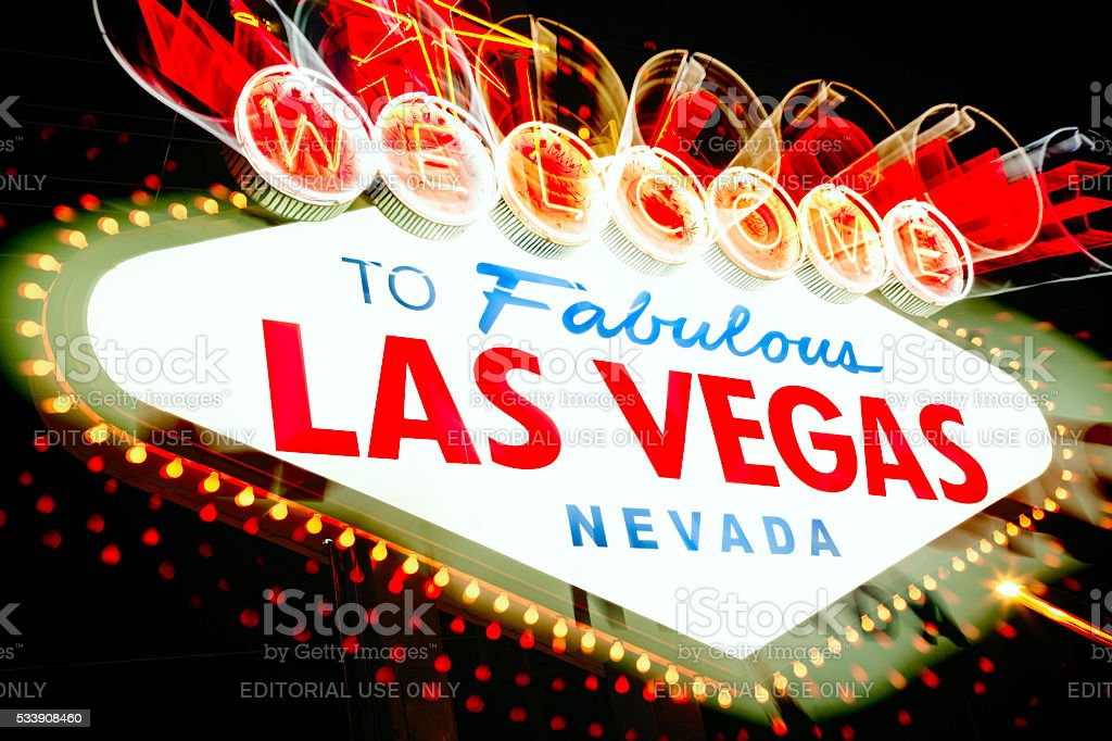 Welcome to Las Vegas sign with camera zoom effect stock photo