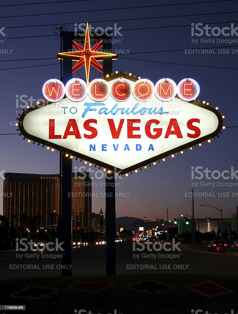 Welcome to Las Vegas sign with dusky strip behind stock photo