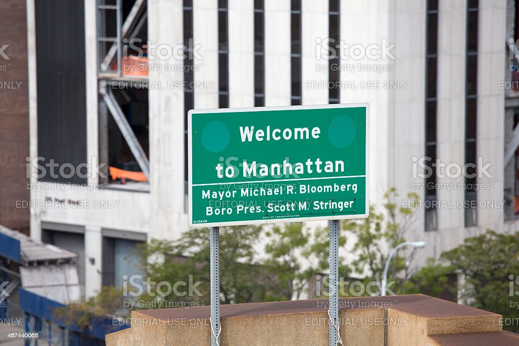 Welcome to Manhattan Street Sign stock photo