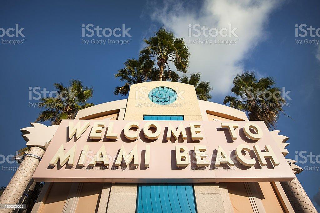 Welcome to Miami Beach Florida stock photo