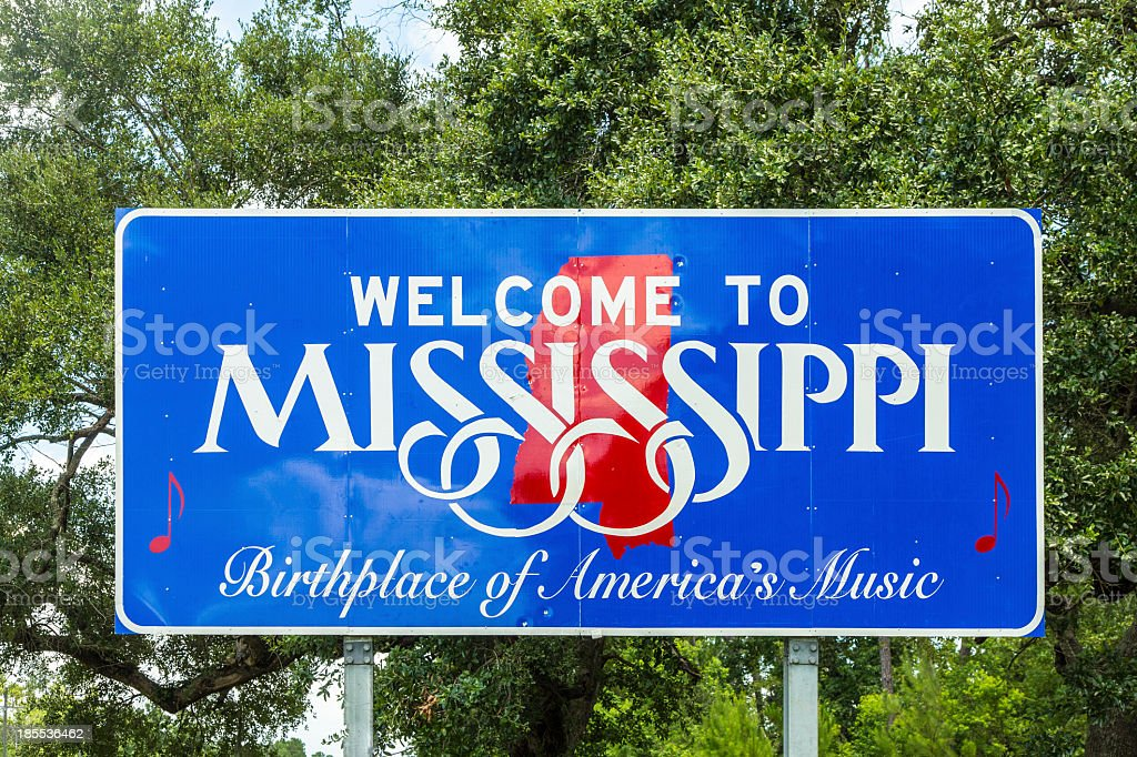 Welcome to Mississippi sign in blue and red stock photo
