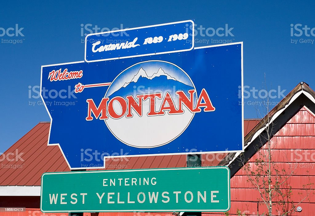 Welcome to Montana sign stock photo