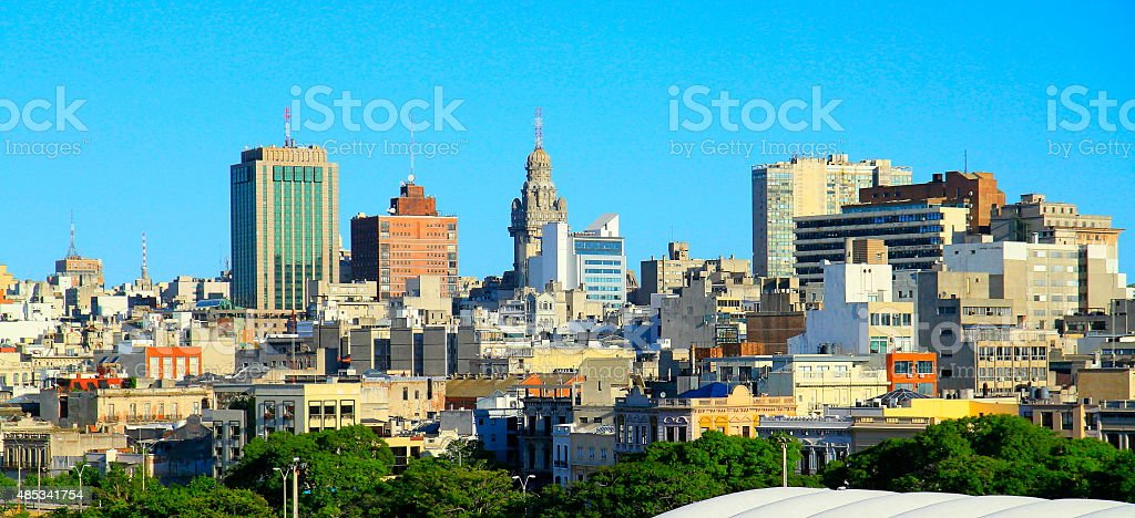 Welcome to Montevideo, Uruguay! Montevideo panorama stock photo