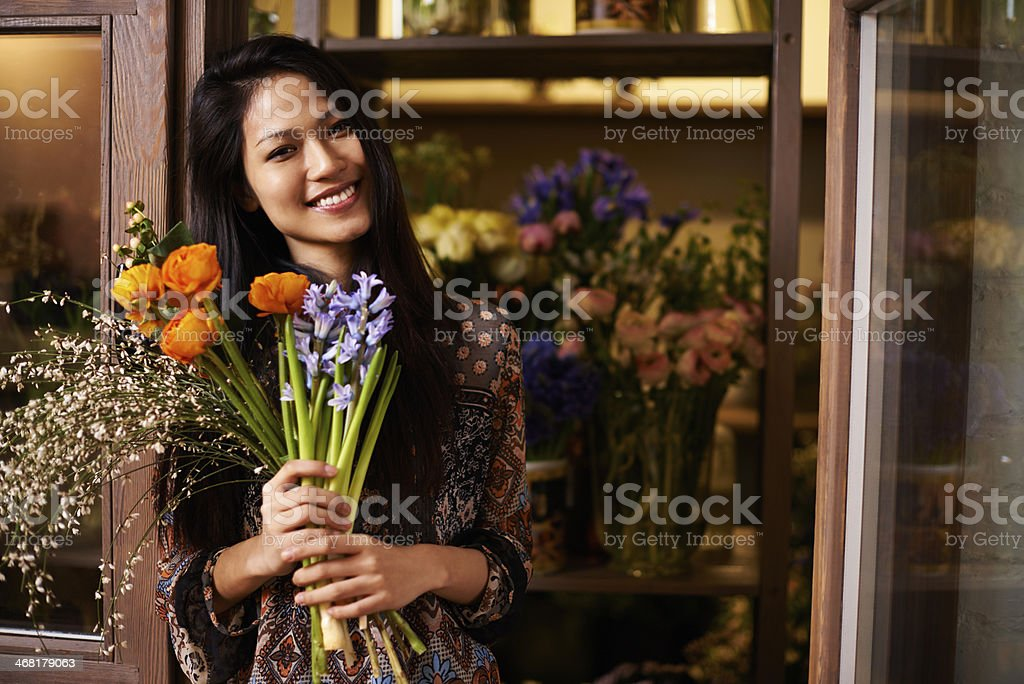 Welcome to my flower shop stock photo