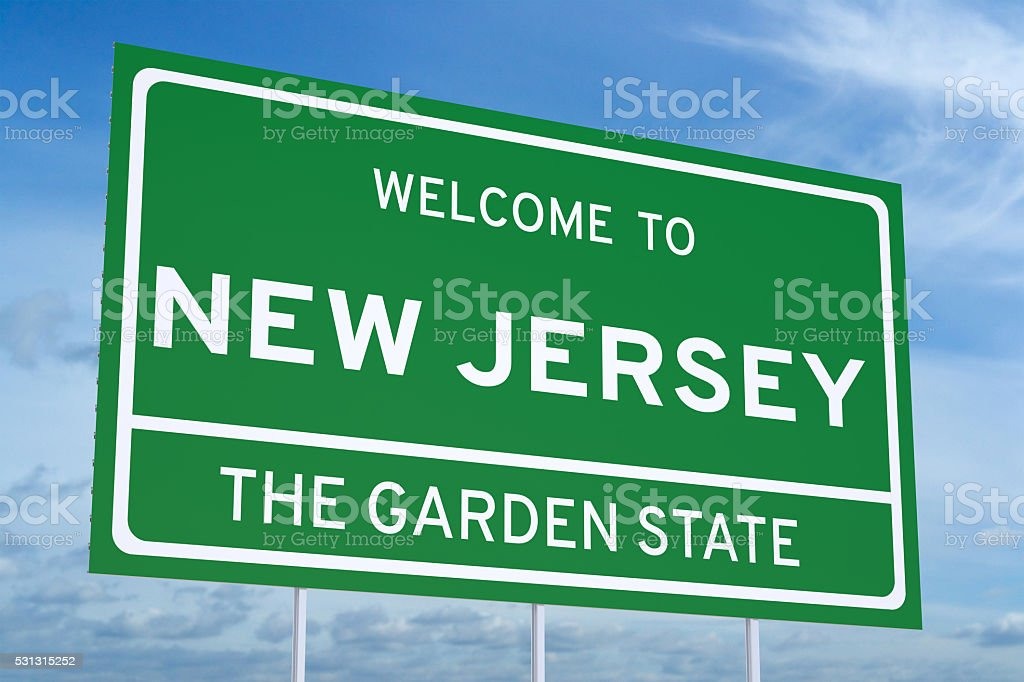 Welcome to New Jersey state road sign stock photo
