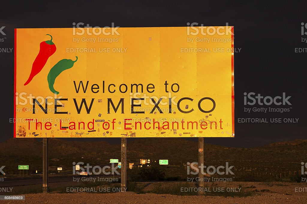 Welcome to New Mexico Road Sign, USA royalty-free stock photo