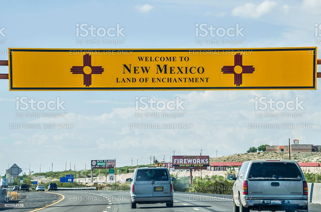 Welcome to New Mexico sign with land of enchantment stock photo