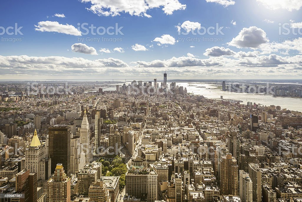 Welcome to New York, Manhattan Aerial View stock photo