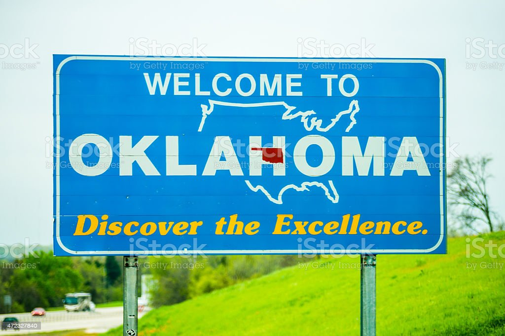 welcome to oklahoma highway state sign stock photo