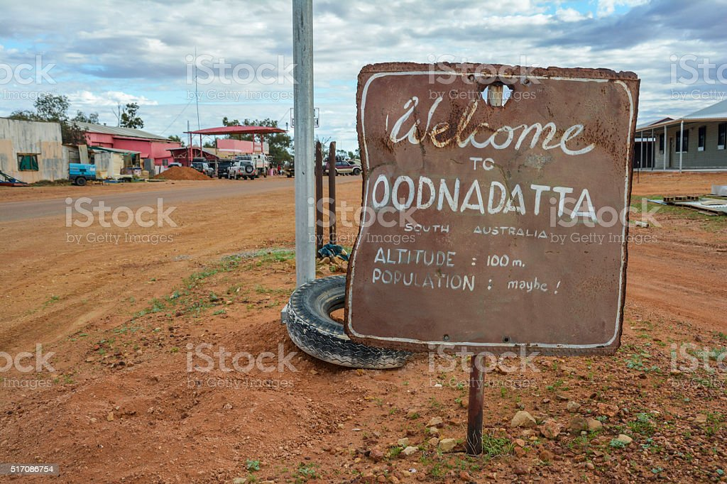 Welcome to Oodnadatta sign in the outback of South Australia stock photo
