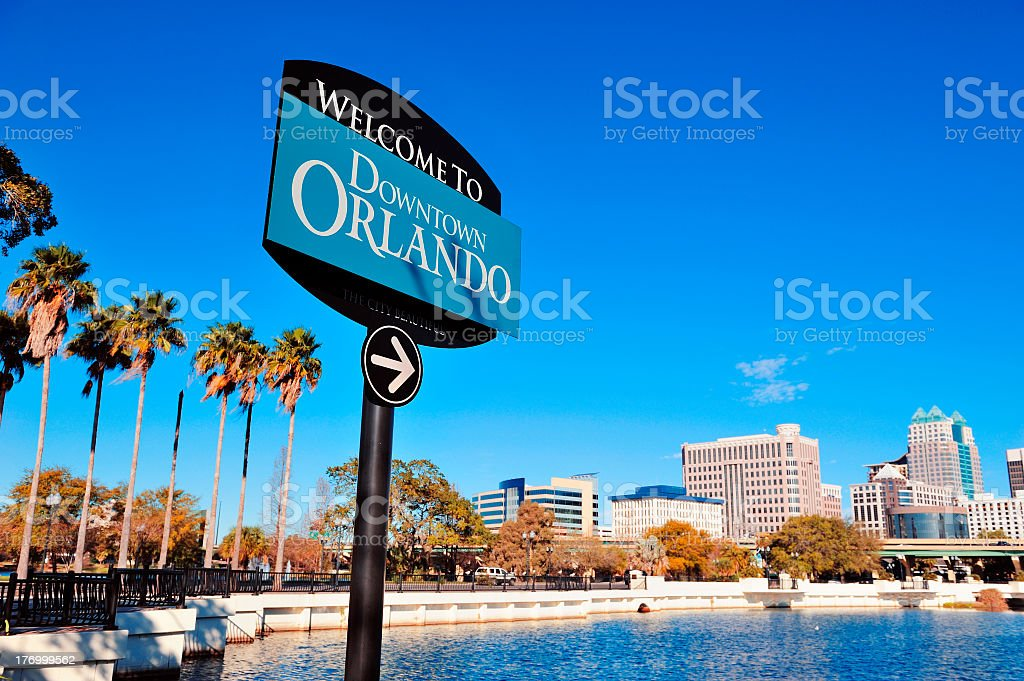 Welcome to Orlando sign at Lake Lucerne stock photo