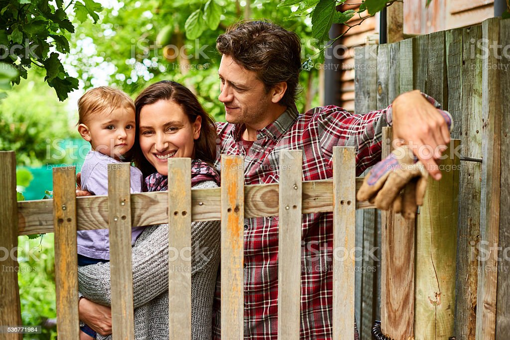 Welcome to our little organic family garden stock photo