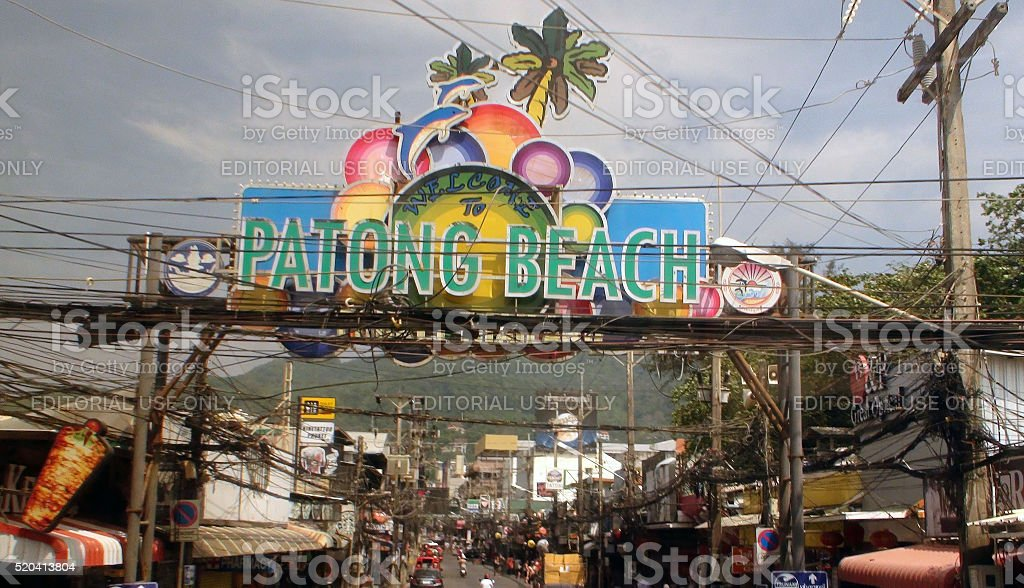 Welcome To Patong Beach Phuket Thailand Sign And Business Logos stock photo
