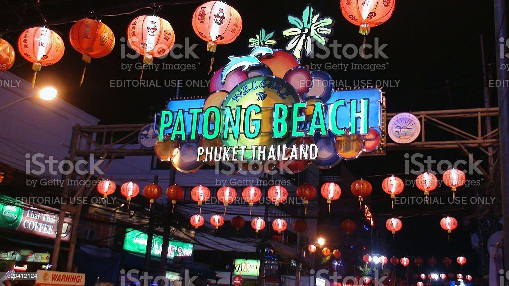 Welcome To Patong Beach Phuket Thailand Sign Plus Business Logos stock photo
