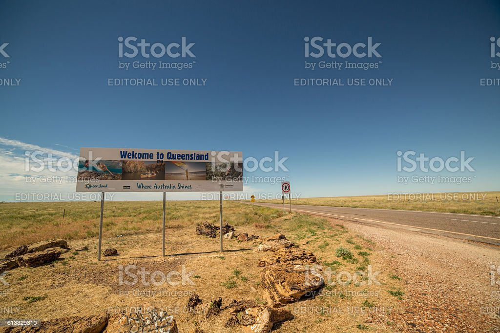 'Welcome to Queensland' stock photo