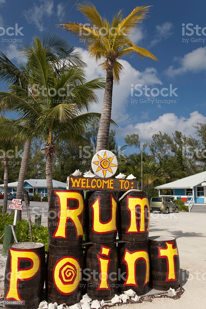 Welcome to Rum Point, Grand Cayman stock photo