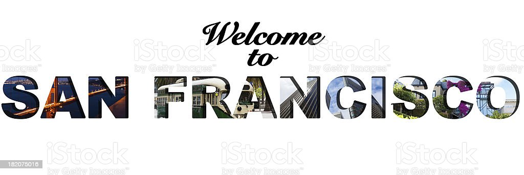 Welcome to San Francisco text collage stock photo