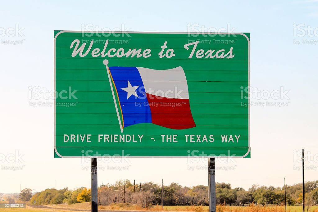 Welcome to Texas sign at the state border stock photo