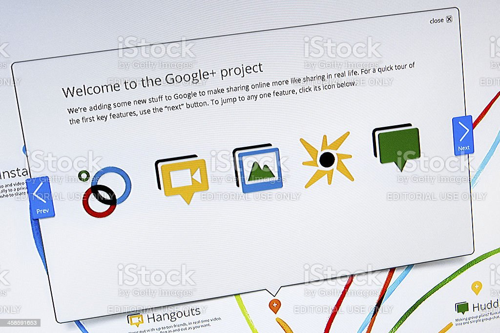 Welcome to the Google+ Project, Closeup on LCD Screen stock photo