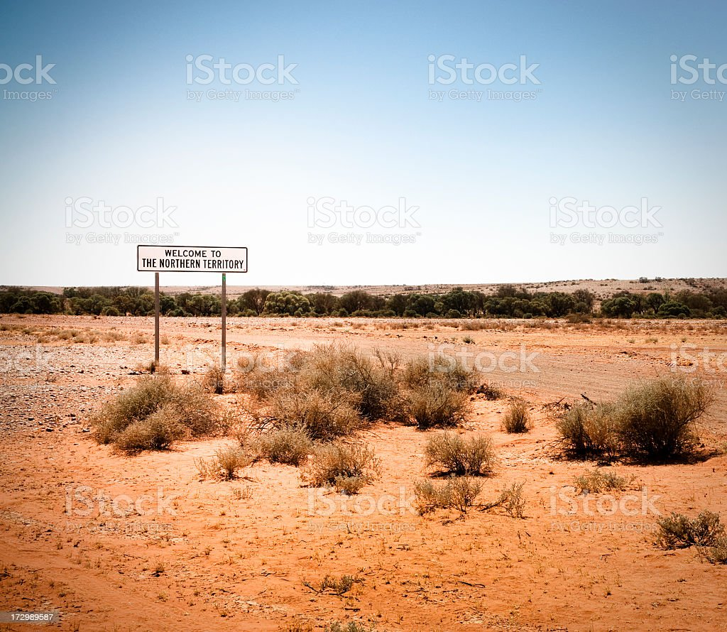 'Welcome To The Northern Territory' Sign royalty-free stock photo