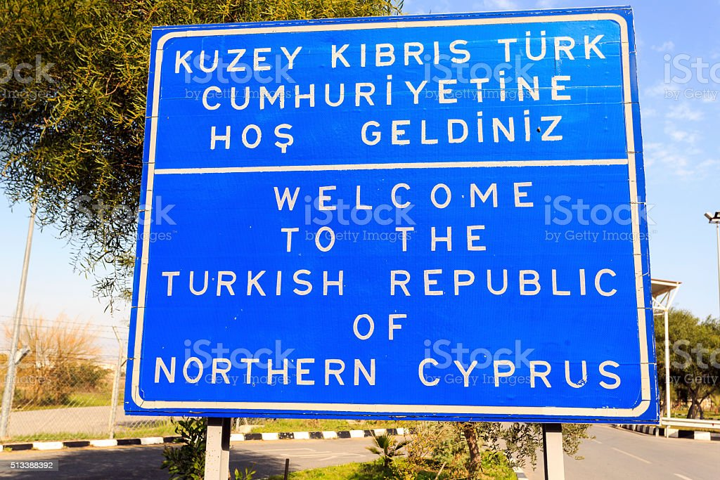 Welcome to The Turkish Republic of Northern Cyprus sign. stock photo