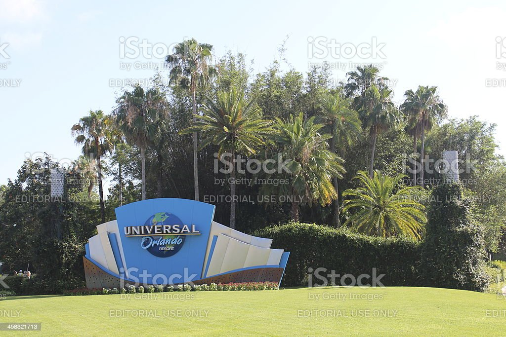 welcome to universal studios florida stock photo