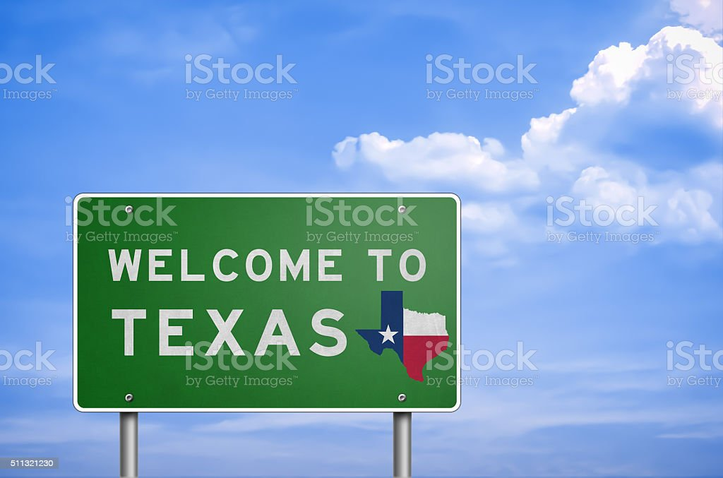 Welcome to US State of Texas - road sign stock photo