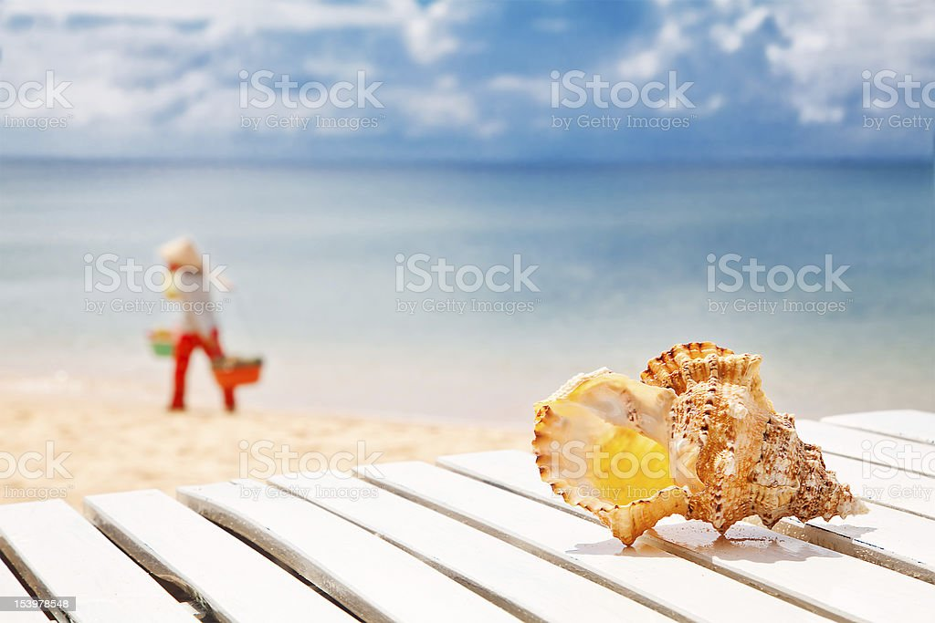 Welcome to Vietnam! Sea shell on a chaise lounge stock photo