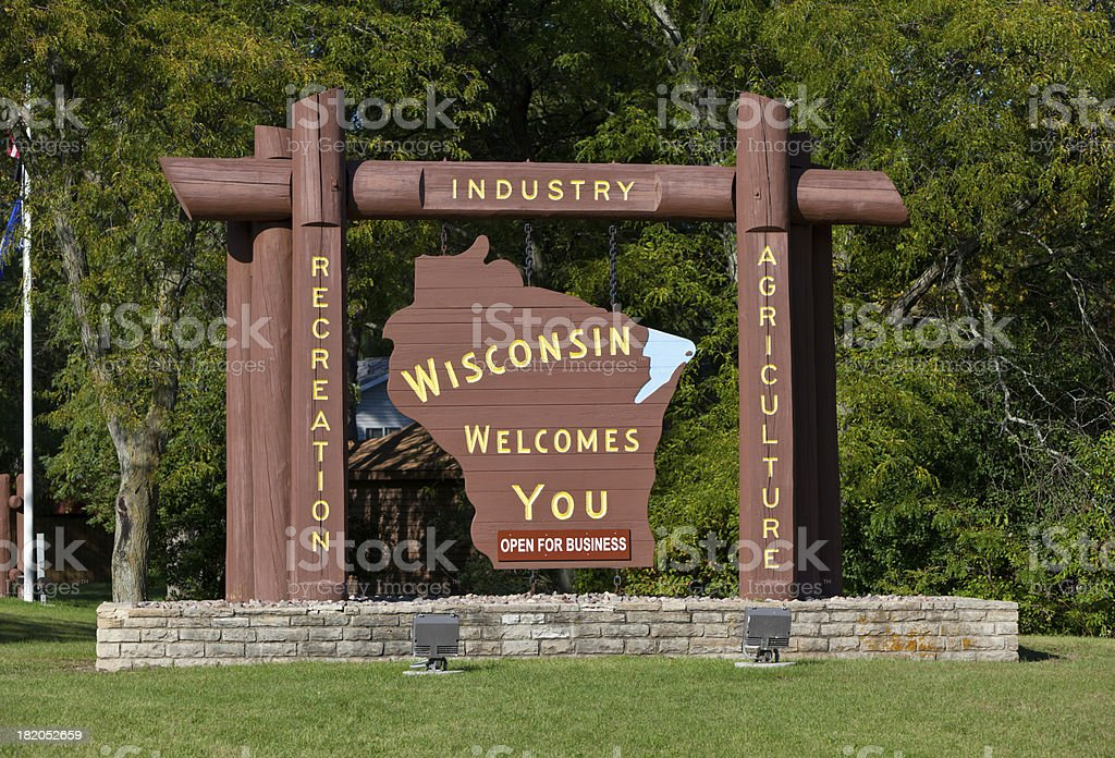 Welcome to Wisconsin Sign stock photo