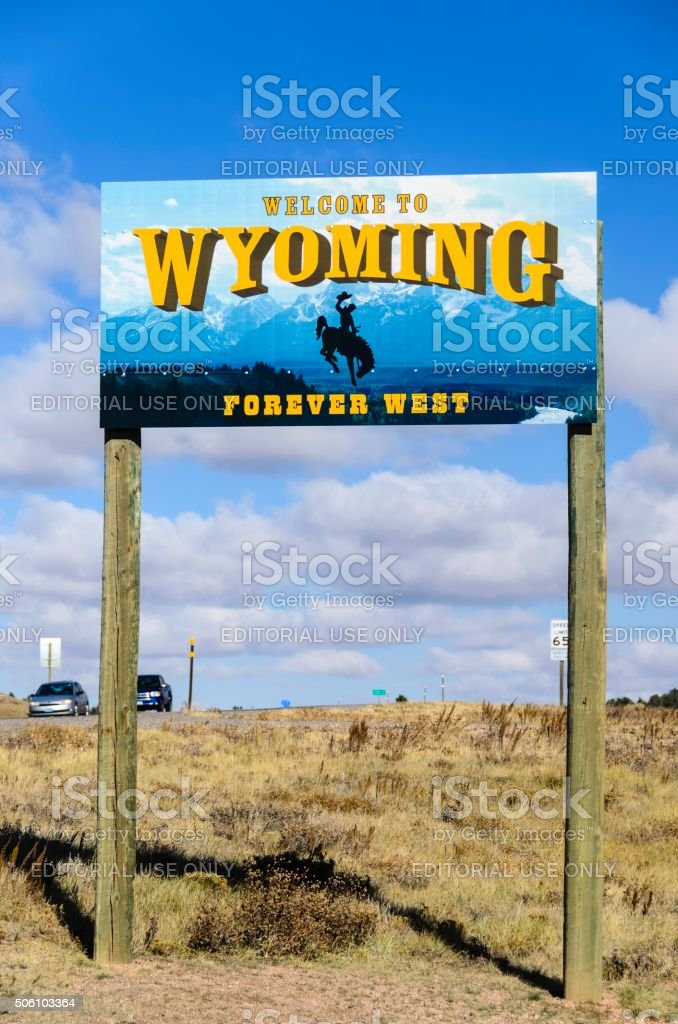 Welcome to Wyoming Sign on Colorado Border stock photo
