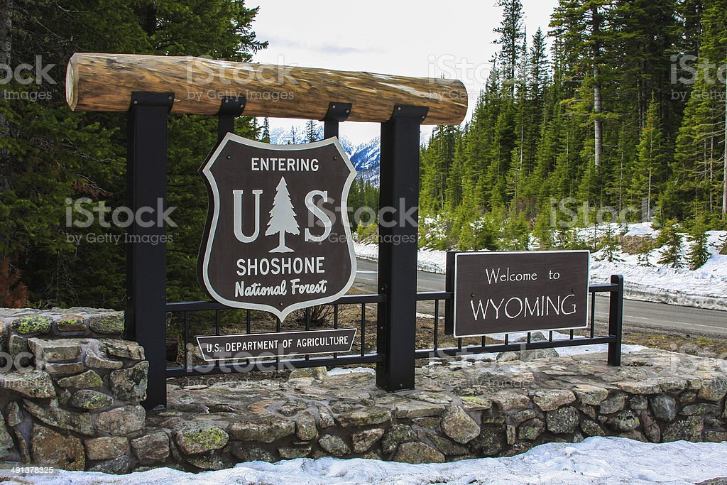 Welcome to Wyoming sign stock photo