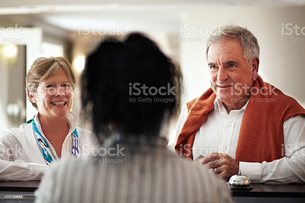 Welcome. We hope you enjoy your stay stock photo