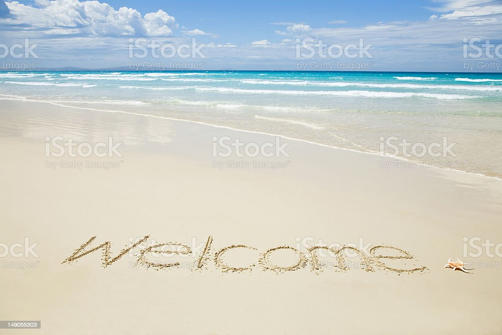 Welcome written on a tropical beach royalty-free stock photo