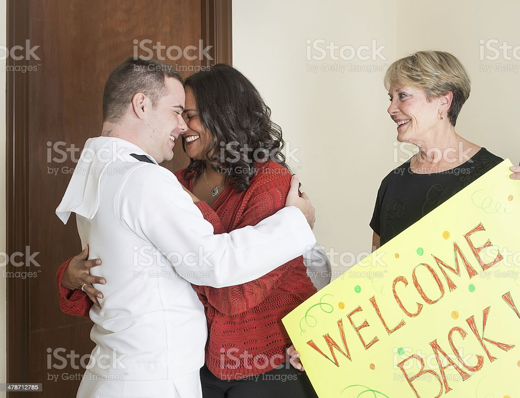 Welcoming a sailor back from deployment royalty-free stock photo