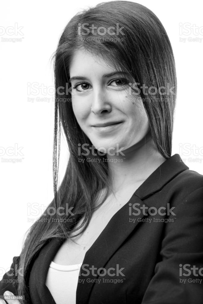 welcoming black and white woman portrait stock photo