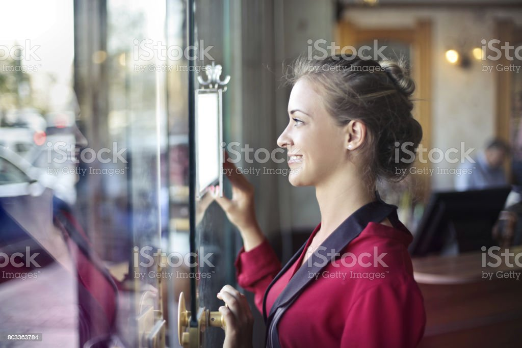 Welcoming clients stock photo