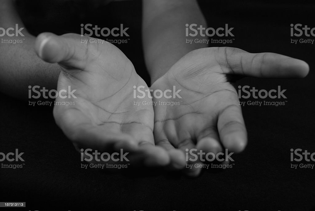 Welcoming Hands in Black and White royalty-free stock photo