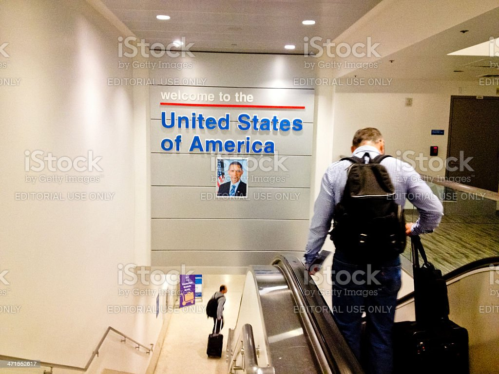 Welcoming sign at Los Angeles Airport royalty-free stock photo