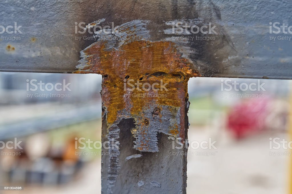 Weld of metal elements is performed with requirements stock photo