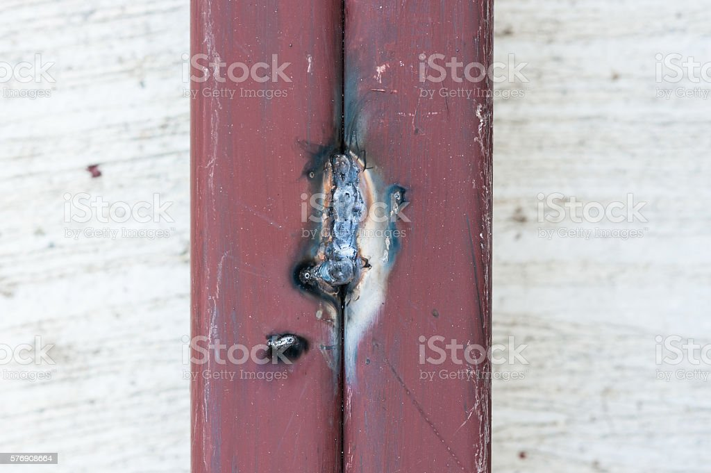 weld point on the steel bar for building construction stock photo